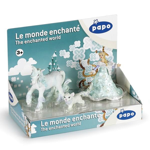 Papo 80506 Geschenkbox Eiskönigin mit Einhorn und Schneekatze - handbemalt