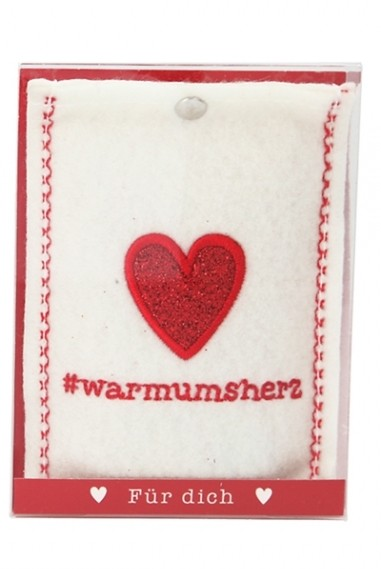 Depesche 10778 Handwärmer in Fleecehülle - Motiv #warmumsherz creme