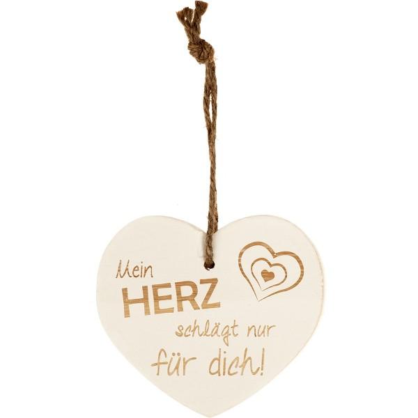 """Kleines Vintage-Herz aus Holz """"Mein Herz schlägt nur für Dich"""" 24001"""