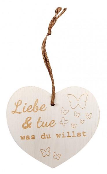 """Kleines Vintage-Herz aus Holz """"Liebe und tue was du willst"""" 24003"""