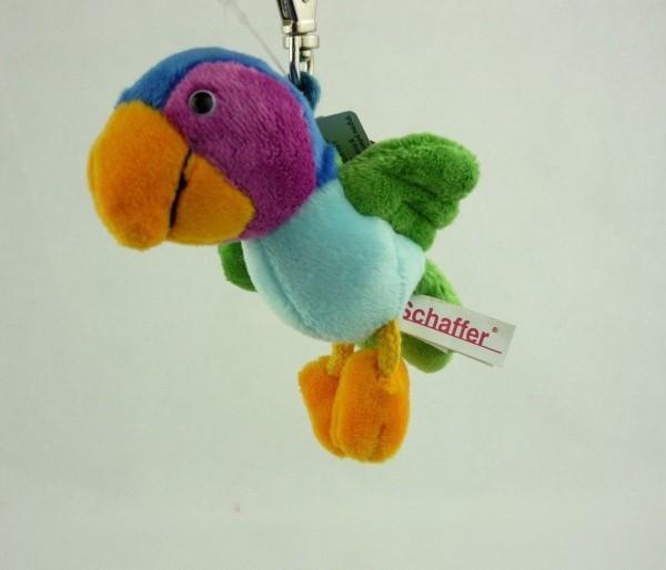 Schaffer 0140 Schlüsselanhänger Plüsch Papagei Calypso (blau) ca 10cm