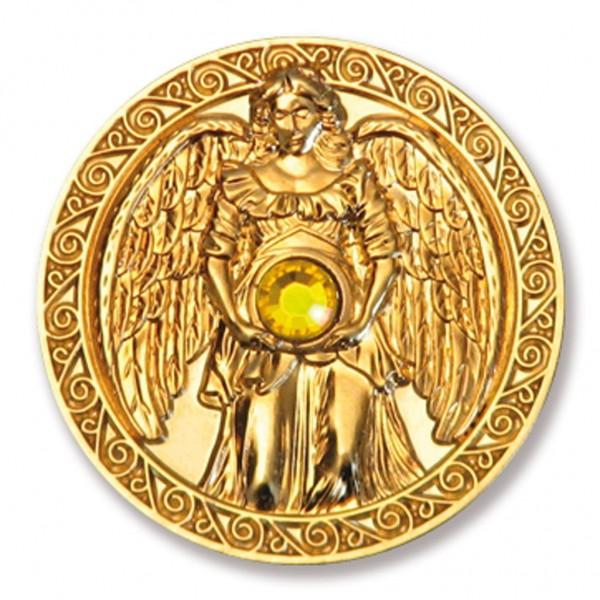 """Engeltaler """"Reichtum"""" vergoldet & eingravierte EngelBotschaft + Swarovski Dekor"""