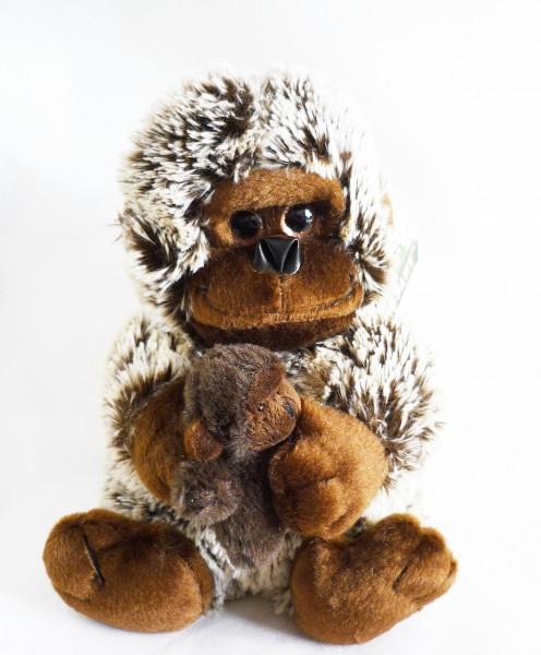 Gorilla mit Baby Plüsch Kuscheltier ca. 25cm dunkelbraun