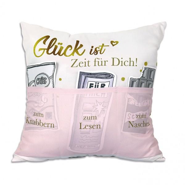 Hergo Sofahelden Kissen mit Taschen 43x43cm - Glück ist Zeit für Dich 9575