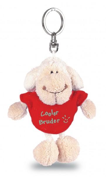 """Nici 31555 Schlüsselanhänger Schaf weiß T-Shirt rot """"Cooler Bruder"""" ca 10cm"""