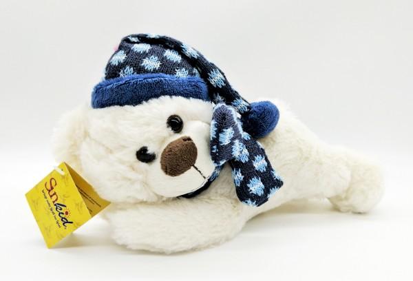 Sunkid Plüsch Bär liegend mit Schlafmütze ca. 24cm 41071
