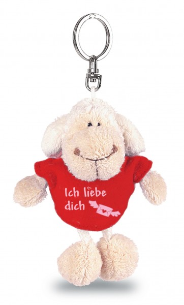 "Nici 31558 Schlüsselanhänger Schaf weiß T-Shirt rot ""Ich liebe dich"" ca 10cm"