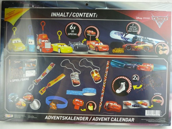 Disney Pixar Cars 3 Adventskalender CR-17100 Craze mit 3D Specials