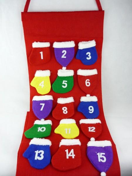 Adventskalender zum Aufhängen + selbst befüllen aus Filz mit bunten Säckchen
