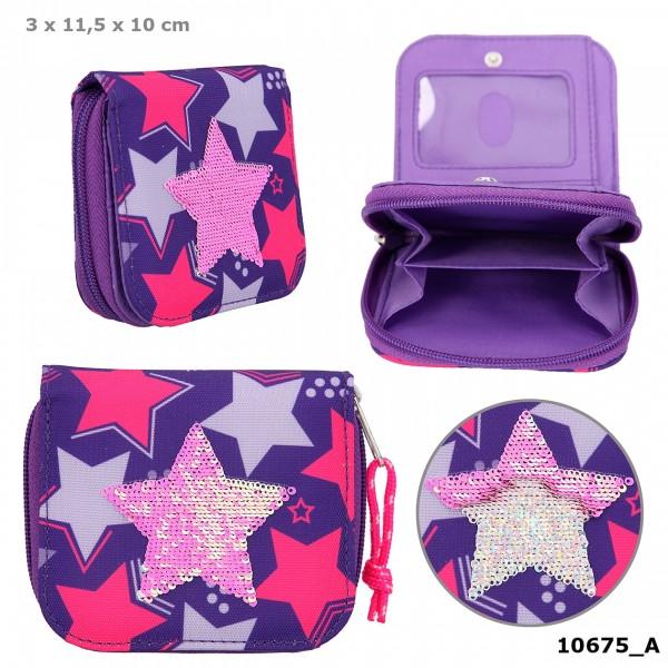 Depesche 10675 TOPModel Portemonnaie Geldbörse Streichpailletten Sterne lila