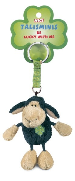 Nici 39521 Schlüsselanhänger schwarzes Schaf Jolly Mäh + Kleeblatt 7cm Talisminis Plüsch
