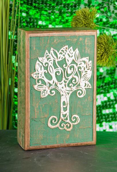 Berk T-26 Holzbox Keltischer Lebensbaum geschnitzt grün mit Blattgoldüberzug