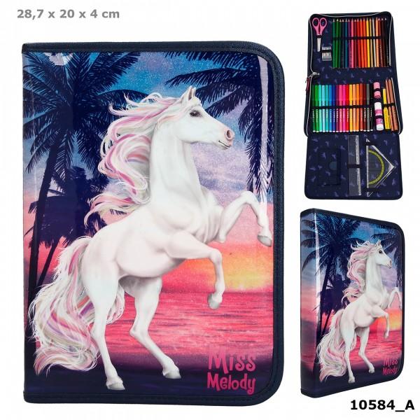 Depesche 10584 Pferd Miss Melody XXL Federtasche gefüllt Glitter Ocean