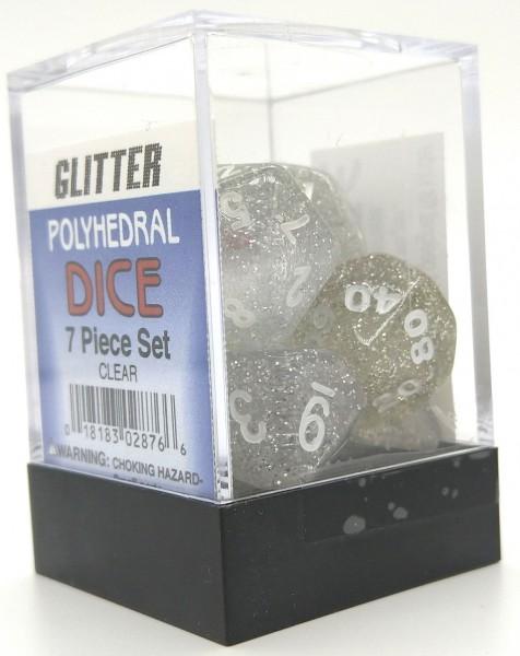 Koplow Rollenspielwürfel Glitter Klar/Weiß 7er Set mit verschiedenen Würfelaugen