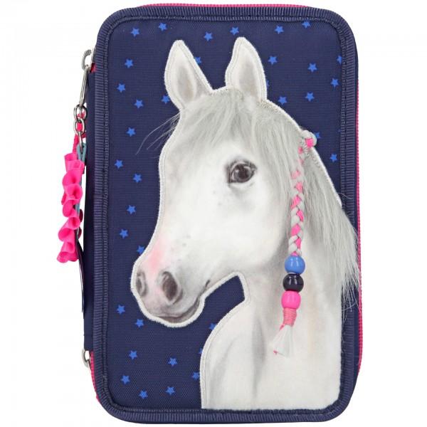 Depesche 5818 Pferd Miss Melody 3-Fach Federtasche dunkelblau gefüllt