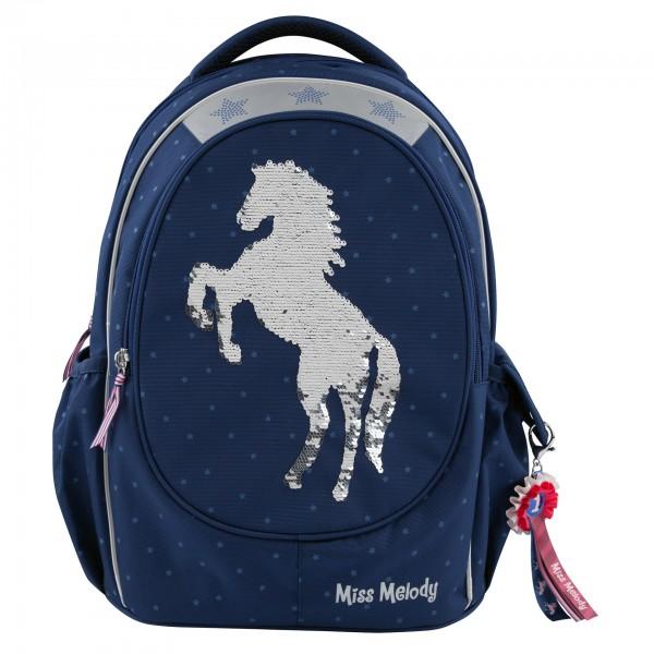 Depesche 7726 Pferd Miss Melody Schulrucksack blau Streichpailletten