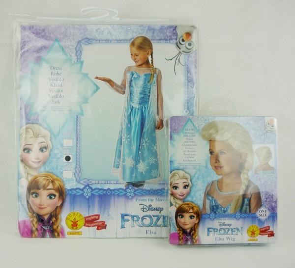 Rubies Disney Frozen Elsa Kleid & Perücke 5-6Jahre Gr M ca 116-128
