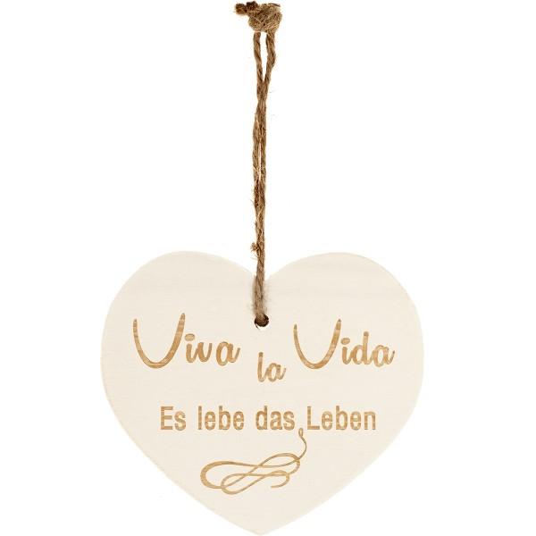 "Kleines Vintage-Herz aus Holz ""Viva La Vida - Es lebe das Leben"" 24005"