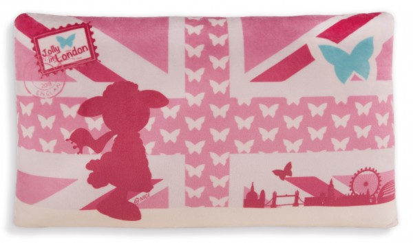 Nici 42807 Kissen Jolly Journey in London rechteckig 43x25cm Plüsch pink