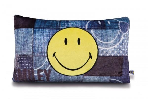 Nici 41530 Kissen Smiley rechteckig mit Applikation 43x25cm Happy Collection