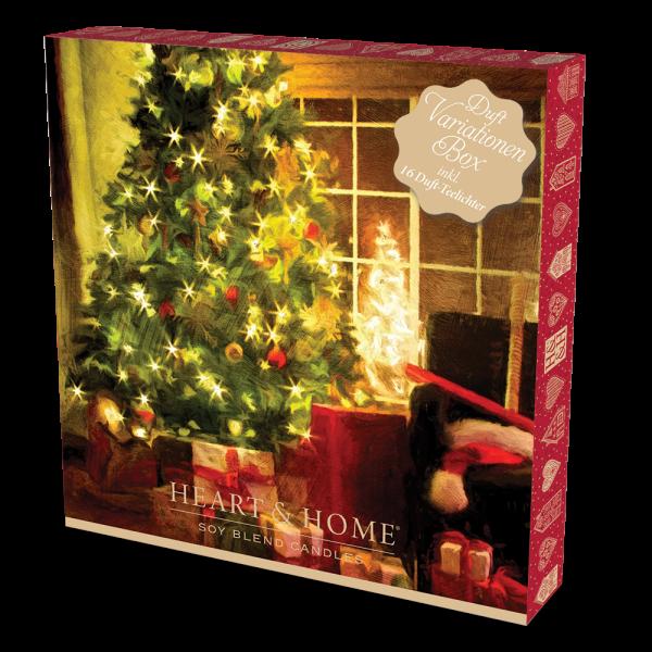 Heart & Home Adventskalender mit 24 weihnachtlichen Duft-Teelichtern + Teelichthalter
