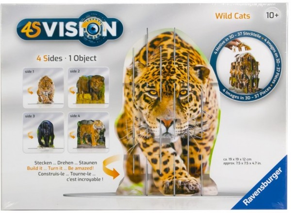 Ravensburger Wild Cats 3D SteckPuzzle 4S Vision Panther Löwe Tiger Gepard