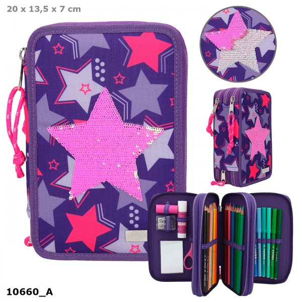 Depesche 10660 TOPModel 3-Fach Federtasche Streichpailletten Sterne lila