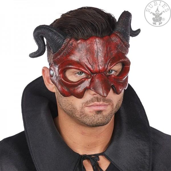 Rubies 6245898 Maske Dämon Teufel Halbmaske aus Latex mit Hörnern + Gummiband