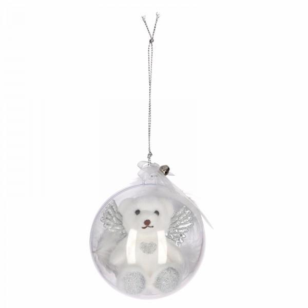 Depesche 1702 Schutzengelbär in WeihnachtsKugel silber passt immer auf dich auf