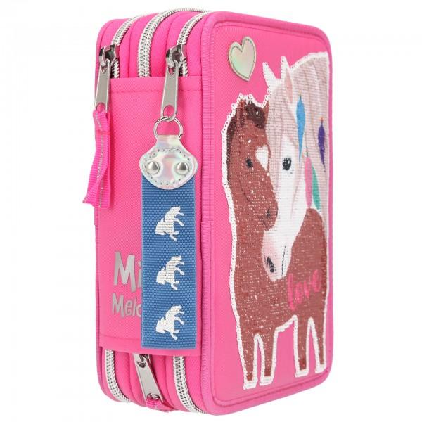 Depesche 10529 Miss Melody 3-fach Federtasche rosa gefüllt mit Streichpailletten