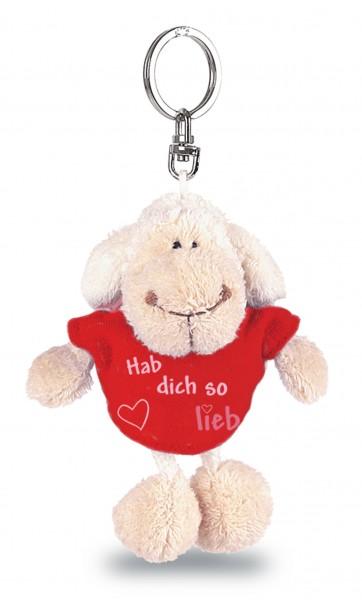 """Nici 31559 Schlüsselanhänger Schaf weiß T-Shirt rot """"Hab dich so lieb"""" ca 10cm"""