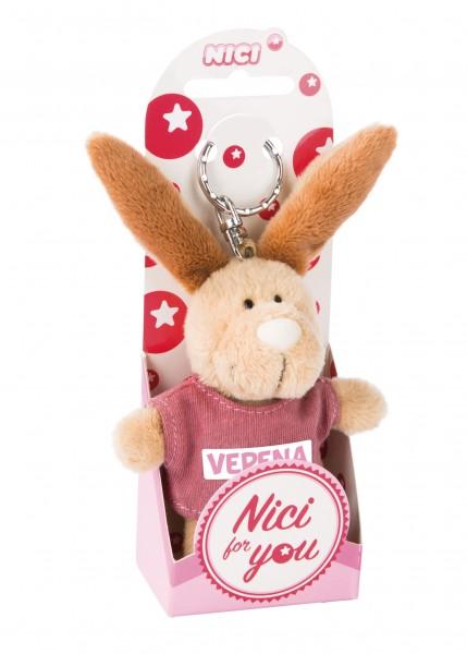 Nici 44663 Schlüsselanhänger Hase mit T-Shirt Verena ca 10cm Plüsch