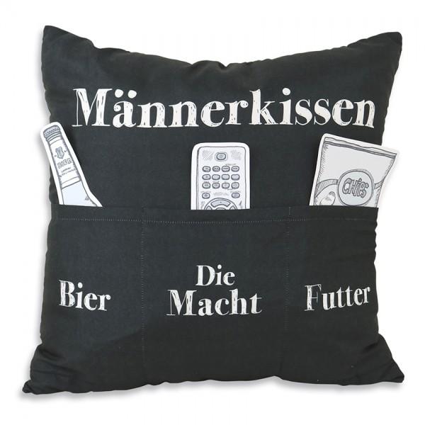 Hergo Sofahelden Kissen mit Taschen 43x43cm - Männerkissen 8801