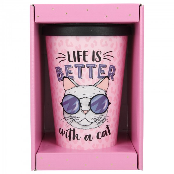 Depesche 2180 -31 To-Go-Becher 350ml Life is Better with a Cat Katze