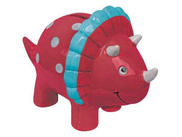bb Klostermann Keramikspardose mit Gummiverschluss 20707 roter Dinosaurier