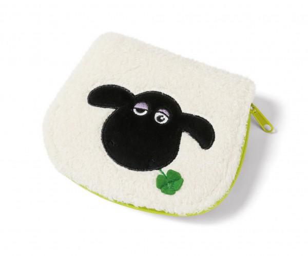 Nici 40679 Geldbeutel Geldbörse Shaun das Schaf Shirley mit Kleeblatt Plüsch 13x11cm