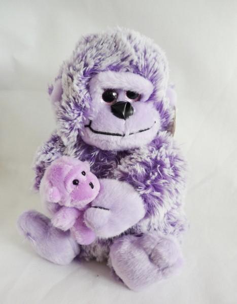 Gorilla mit Baby Plüsch Kuscheltier ca. 25cm lila