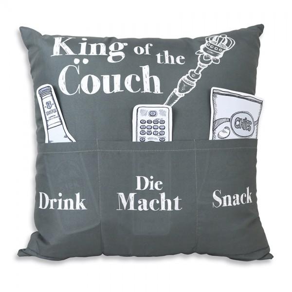 Hergo Sofahelden Kissen mit Taschen 43x43cm - King of the Couch 8802