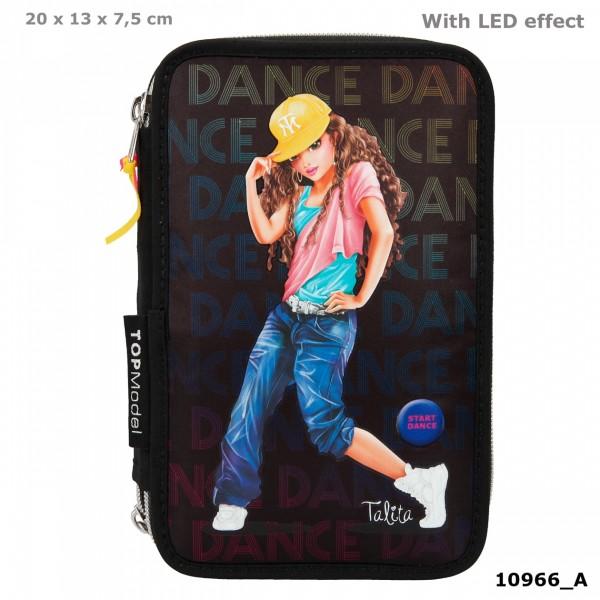 Depesche 10966 TOPModel 3-Fach Federtasche DANCE schwarz Talita tanzt mit LED