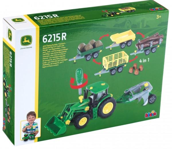 John Deere 6215R Traktor mit 4 Anhängern und Pflug plus Heuballen 3907