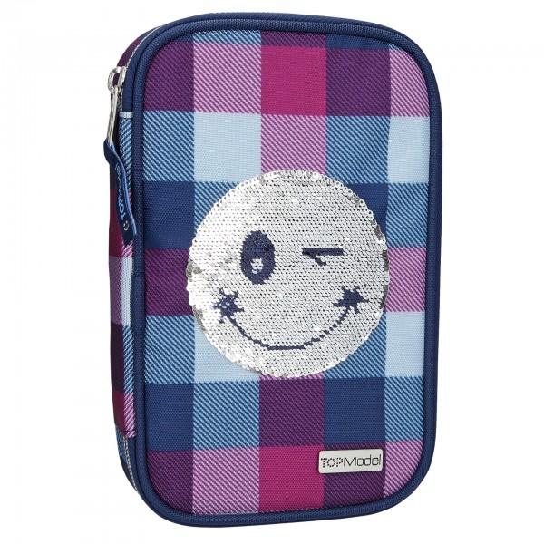 Depesche 10225 TOPModel Schlampermäppchen Federmappe Streich-Pailletten Smiley blau/lila gefüllt