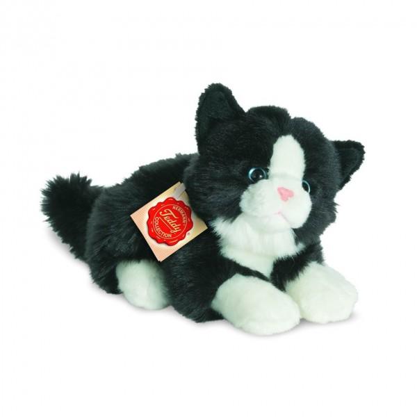 Teddy Hermann 90689 Katze liegend schwarz / weiß ca. 20cm Plüsch
