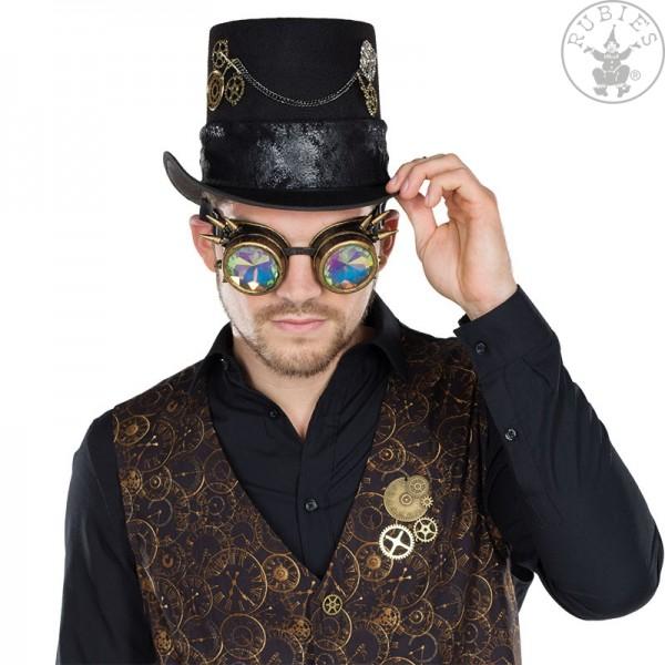 Rubies 6230646 Kupferfarbene Fliegerbrille Steampunk Hologramm Brille