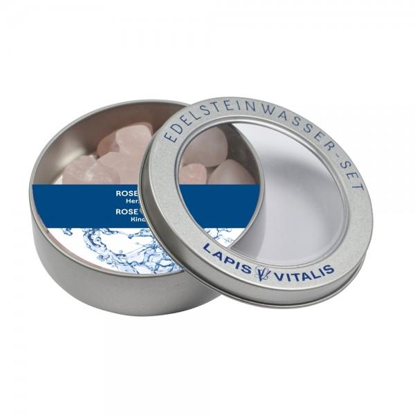 Berk Wassersteine in Geschenkdose Rosenquarz W-222 Herzlichkeit Edelsteinwasser
