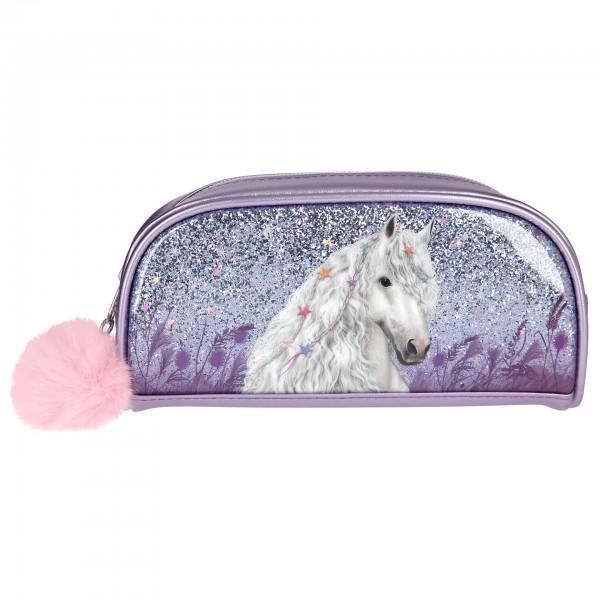 Depesche 10774 weißes Pferd Miss Melody Schlampermäppchen Glitzer lila