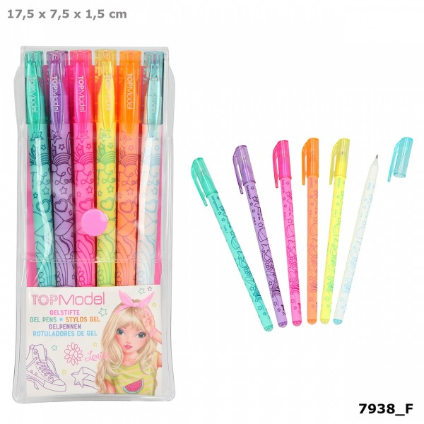 Depesche 7938 TOPModel Neon Gelstifte-Set 6 Farben Neonstifte Louise