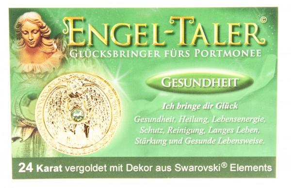 """Engeltaler """"Gesundheit"""" vergoldet & eingravierte EngelBotschaft +Swarovski Dekor"""