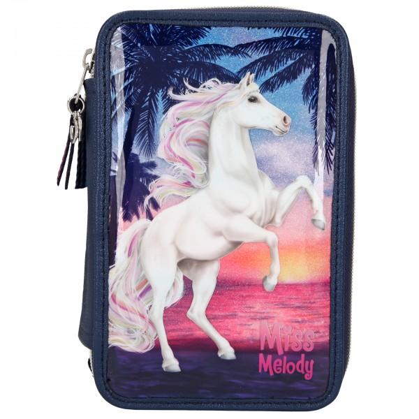 Depesche 10583 Pferd Miss Melody 3-Fach Federtasche gefüllt Glitter Ocean