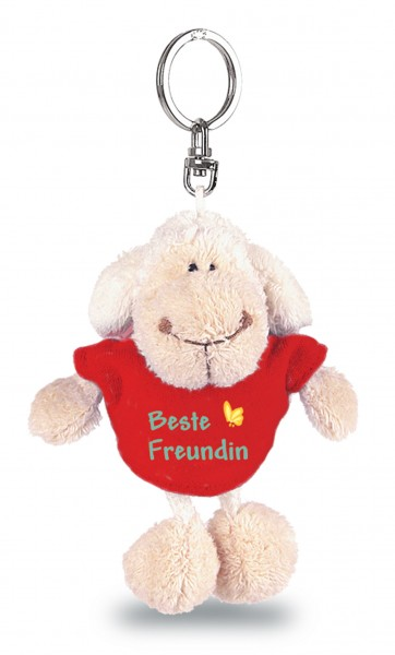 """Nici 31561 Schlüsselanhänger Schaf weiß T-Shirt rot """"Beste Freundin"""" ca 10cm"""
