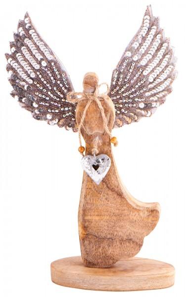 Berk ZW-213 Engel der Lebensfreude Mangoholz ca 31cm silber